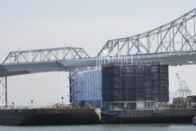 The Google barge, photographed at Treasure Island in October 2013. (Sara Bloomberg/KQED)