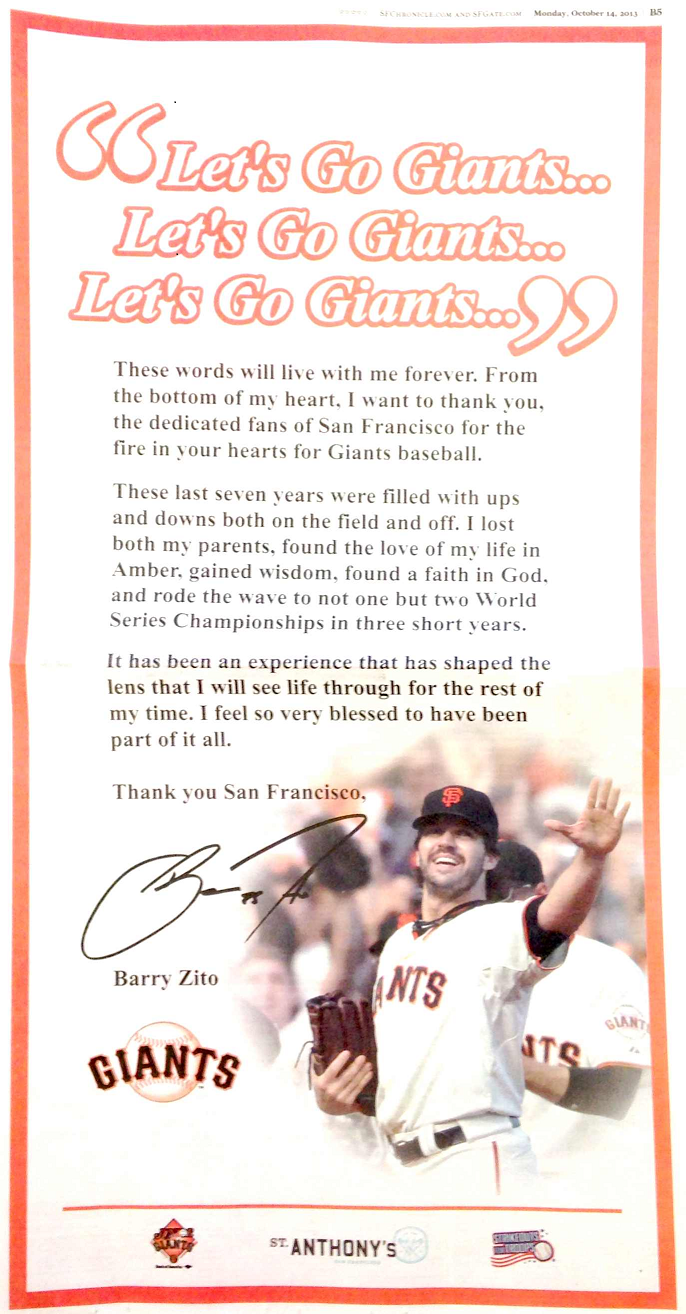 The full page ad that Giants pitcher Barry Zito took out in the San Francisco Chronice.