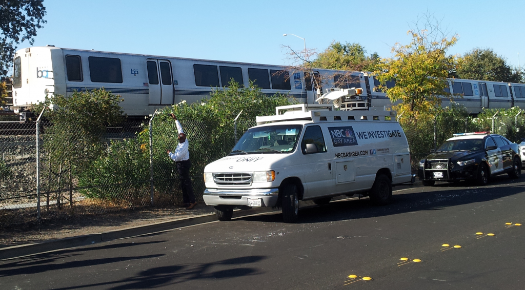 The BART train involved in an accident Saturday that killed two workers inspecting the tracks. (Alex Emslie/KQED).