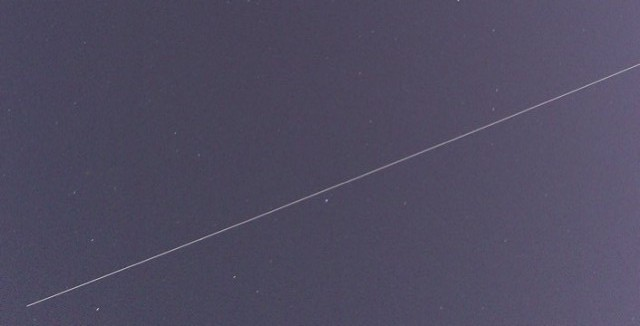 The International Space Station passes overhead, as seen from Berkeley. (Dan Brekke/KQED)