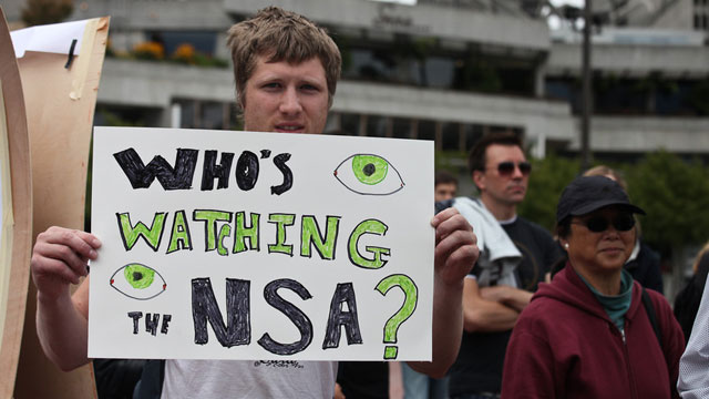 A group of protesters gathered at the Embarcadero in San Francisco on Aug. 4, 2013 to speak againt the NSA's practice of recording telephone conversations and emails. Daniel Ellsberg, who leaked the Pentagon Papers, spoke of his support of Bradley Manning and Edward Snowden. (Deborah Svoboda/KQED)