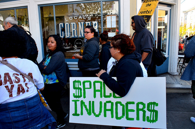 In October 2013, marchers protested gentrification  in San Francisco's Mission District. (Steve Rhodes / Flickr)