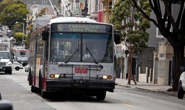 A Muni trolley bus rolls on the system's No. 6-Parnassus route. (Deborah Svoboda/KQED)