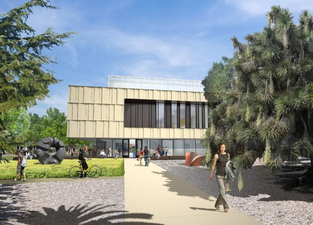Artist's rendering of the museum building for the Anderson Collection at Stanford University. (Courtesy Stanford University.