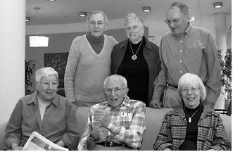 Merrill Newman, in back row at right, in a picture from his Channing House retirement community in Palo Alto.