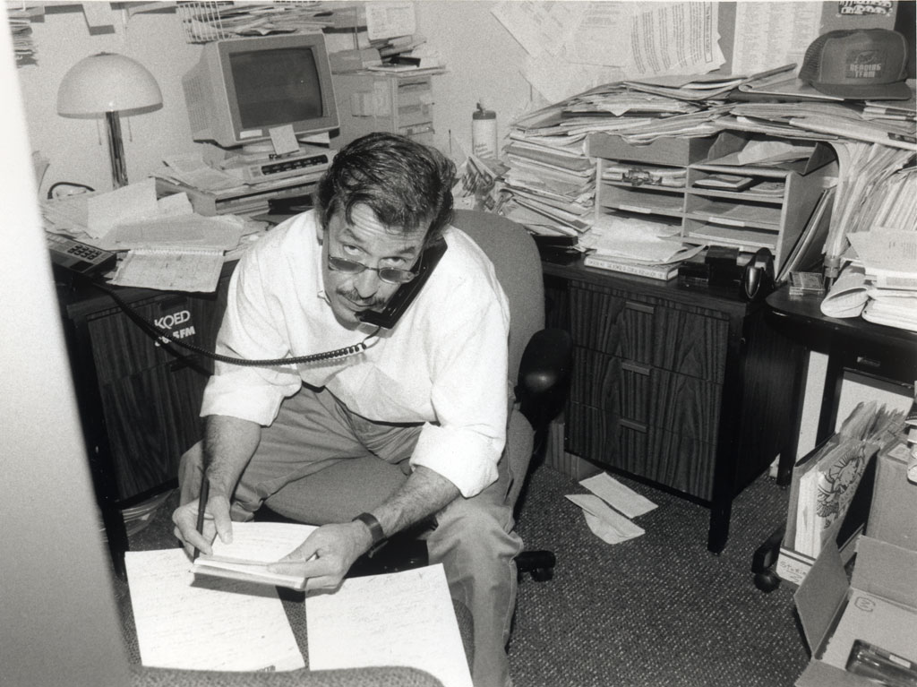 Raul Ramirez in his office at KQED. (Courtesy Peter Borg)