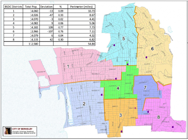 This Berkeley Student District Campaign map was approved by the Berkeley City Council on Tuesday night. (City of Berkeley)