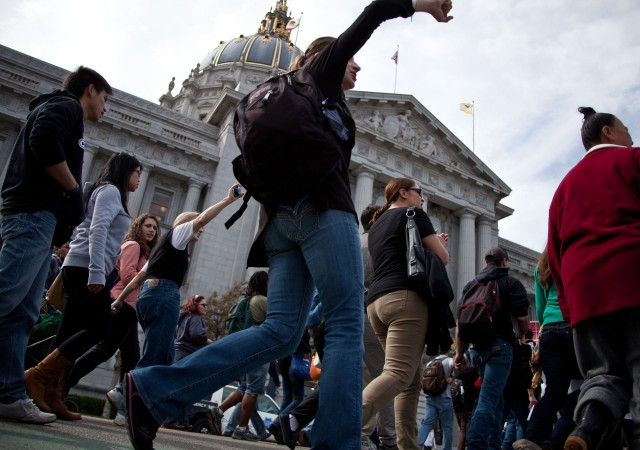 In March, hundreds of students from several campuses of the City College of San Francisco arrived at City Hall as part of an ongoing protest against a plan to revoke the college's accreditation. That battle continues, with CCSF supporters now suing to block an accreditation agency from proceeding with its plan. (Deborah Svoboda/KQED)