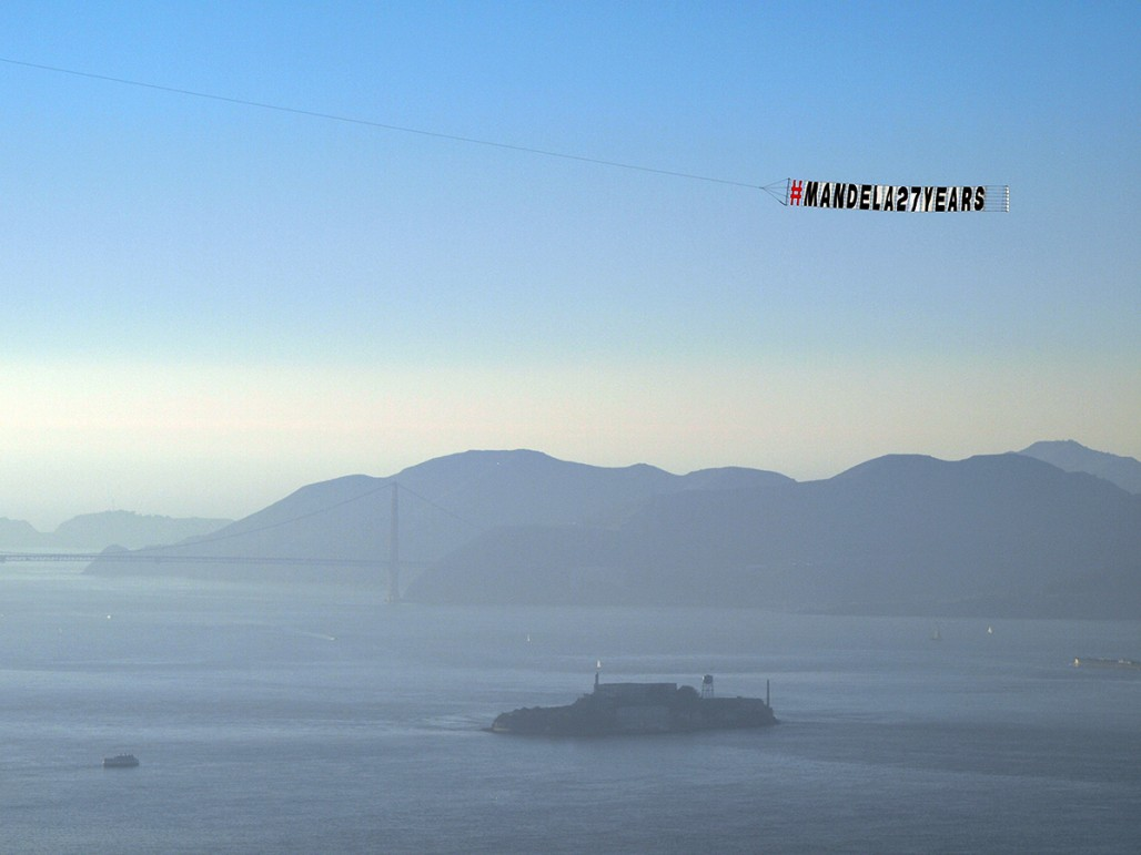 The memorial flight flew over landmarks like Alcatraz Island. (Tawanda Kanhema)