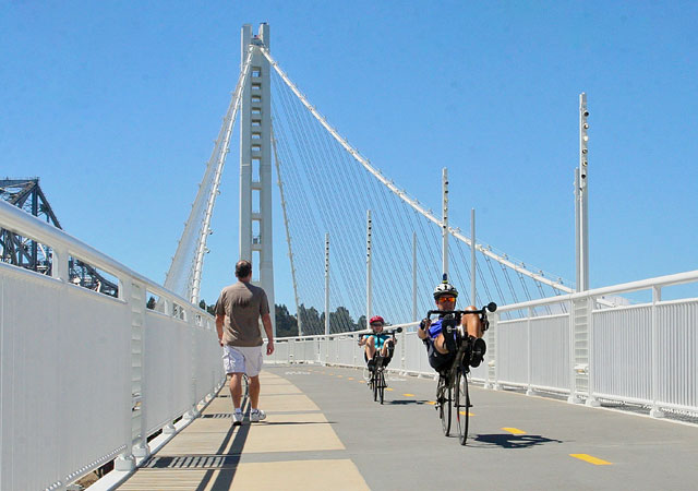 The new eastern span of the Bay Bridge is not just for vehicles. There's a bicycle and pedestrian path, too. People came out in droves when it first opened to check it out and get a different view of the bay. (Nancy Rubin/Berkeleyside)