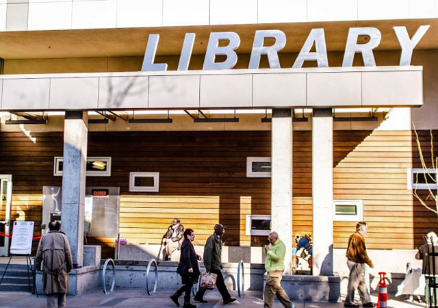 On Saturday, Berkeley welcomed a new West Branch library at 1125 University Ave. The new 9,300-square-foot, $7.5 million building has been touted as the first net-zero energy library in the state, not just consuming electricity but generating it too. (Richard Friedman/Berkeleyside)