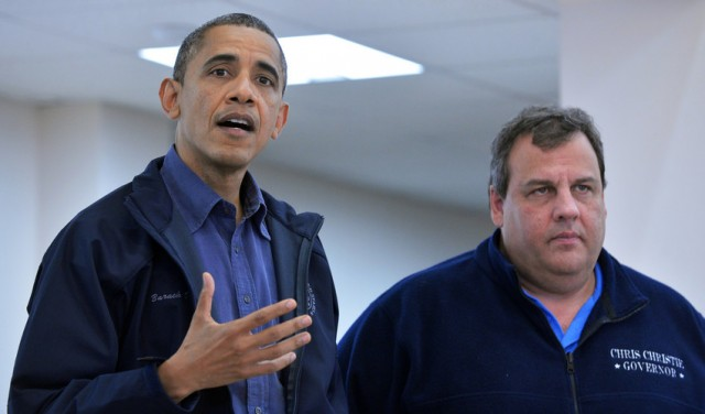 President Obama with New Jersey Gov. Chris Christie at a shelter for Hurricane Sandy victims in Brigantine, N.J. in October 2012. (Jewel Samad/AFP-Getty Images)