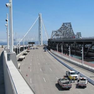 The new Bay Bridge eastern span, left, and the old span, right. (Andrew Stelzer/KQED)