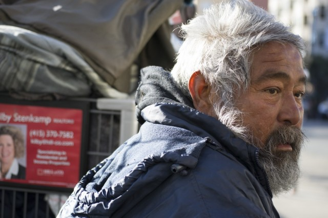 "Mauricio Solies lives on the street and faces the freezing temperatures at night: ""We need blankets. That's the most important thing. And love.""   (Sara Bloomberg/KQED)"