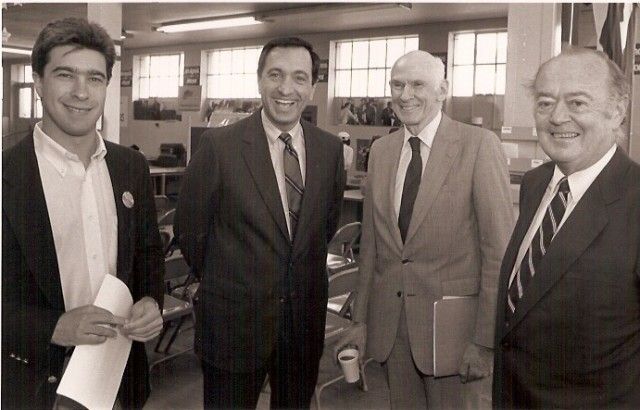L to R: Scott Shafer, Mayor Art Agnos, Sen. Alan Cranston, state Sen. Milton Marks In 1989. (Courtesy of the City of San Francisco)