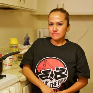 Guadalupe Salazar works at a McDonald's in Oakland, where she earns $8 an hour. She is planning to strike on Thursday as part of a nationwide organized protest to demand $15 an hour and the right to unionize. (Monica Lam/KQED)