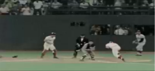 Screen capture of Pete Rose colliding with Ray Fosse in 1970 All-Star Game.