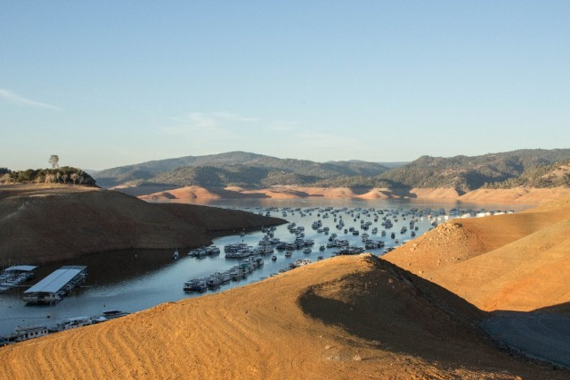 Lake Oroville, largest reservoir in the State Water Project, has fallen to just 36 percent of capacity. (Dan Brekke/KQED News)