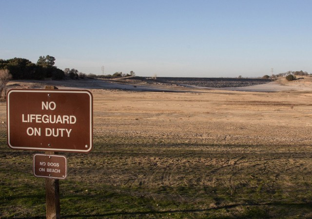 Folsom Lake, east of Sacramento, pictured in January as it reached its winter low. (Dan Brekke/KQED)