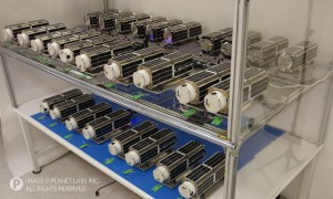 Planet Labs' Flock 1 satellites. (Courtesy Planet Labs)