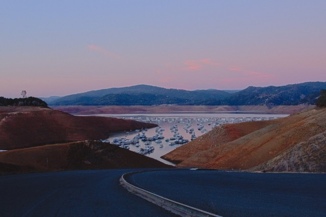 Lake Oroville, the largest reservoir in the State Water Project, is pictured on Jan. 18, 2014, the day it hit its lowest point (so far) during the current drought. (Dan Brekke/KQED)