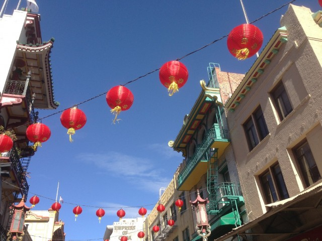 Grant Avenue, the main commercial strip of San Francisco's Chinatown, is decked out for the Lunar New Year. (Patricia Yollin/KQED)