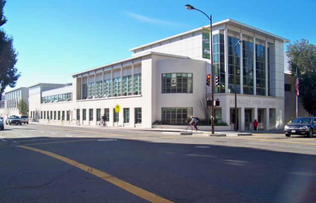 Berkeley High School, which has had reported incidents of guns on campus in the past, will, like all BUSD schools, benefit from new spending on safety improvements.(Wikimedia Commons/Berkeleyside)