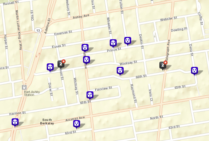 There have been at least 15 reported robberies near the Ashby BART station in the past 60 days, with several others also nearby. At least eight of the robberies near BART involved firearms. One incident, at Woolsey and Tremont, is too recent to appear on the map. (CrimeMapping/Berkeleyside)