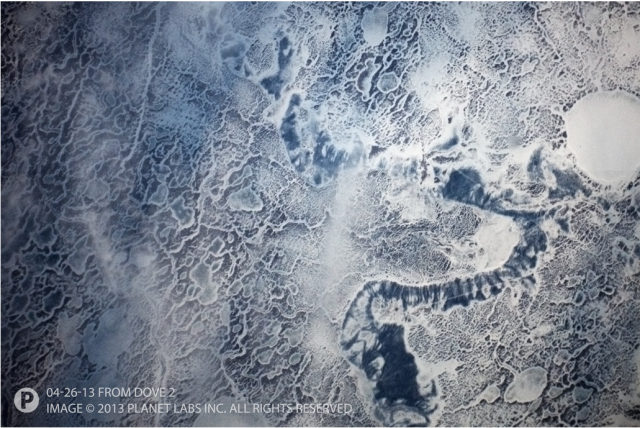 Planet Labs' Dove 2 photo of sea ice in the Gulf of Bothnia between Sweden and Finland.