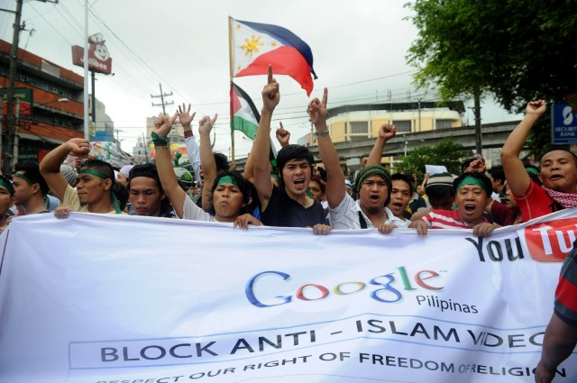 Filipino Muslims in September 2012, part of worldwide protest against an anti-Muslim film produced in the United States. (Noel Celis/AFP-Getty Images)