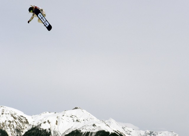South Lake Tahoe's Jamie Anderson soars from a jump during her gold-medal run in women's snowboard slopestyle at the Sochi Olympics. (Franck Fife AFP-Getty Images)