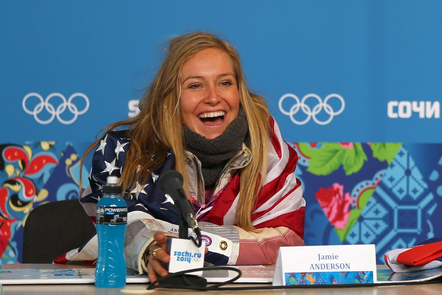 South Lake Tahoe's Jamie Anderson at press conference following her gold medal performance in women's snowboard slopestyle at Sochi Olympics. (Mike Ehrmann/Getty Images)