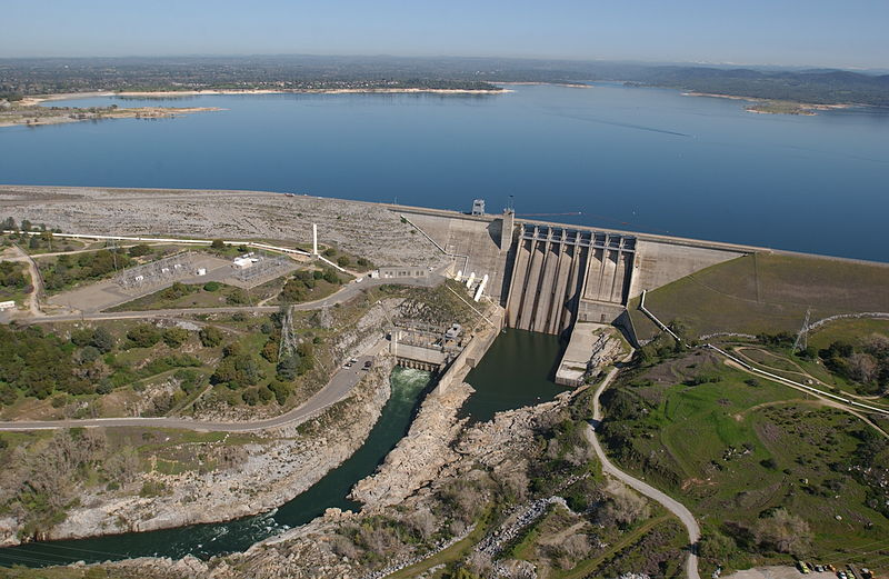 Folsom Dam, on the American River northeast of Sacramento. (Wikimedia Commons)