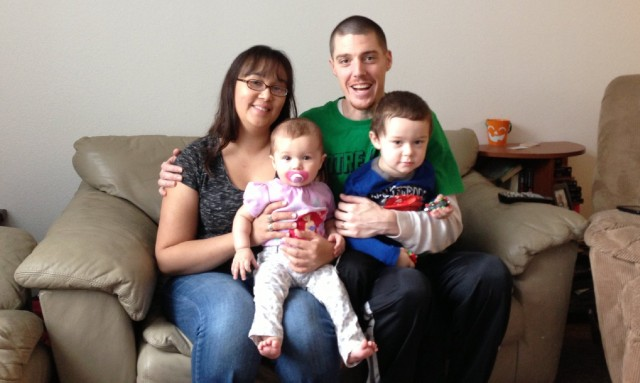 Timothy and Tiffanie Keighran with daughter Leilani and son TJ. (Cy Musiker/KQED)