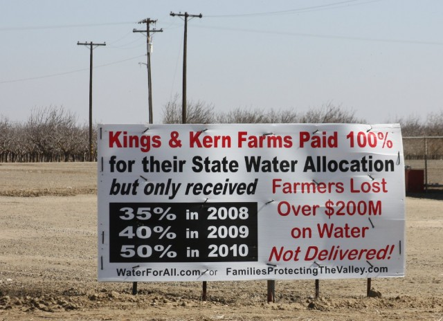 A San Joaquin Valley sign protesting reduced deliveries of water in previous drought years. (Sasha Khokha/KQED)