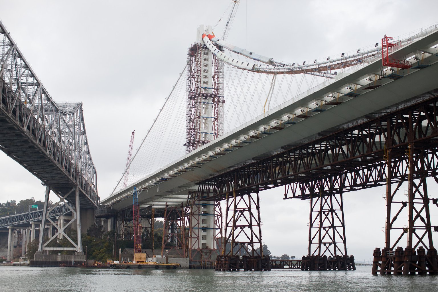 Steel rods on the new eastern span of the Oakland-San Francisco Bay bridge were found to be broken when engineers returned to check the nuts they tightened earlier. File photo. (Deborah Svoboda/KQED)
