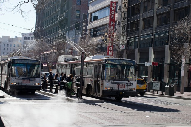 Muni buses in downtown San Francisco. (Deborah Svoboda/KQED)