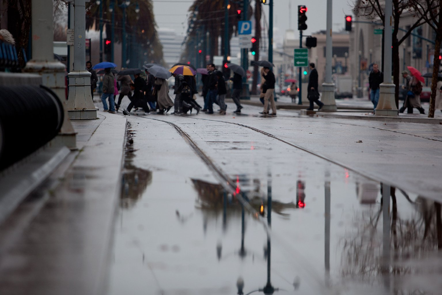 Rain falls on San Francisco's Embarcadero in early February. (Mark Andrew Boyer/KQED)