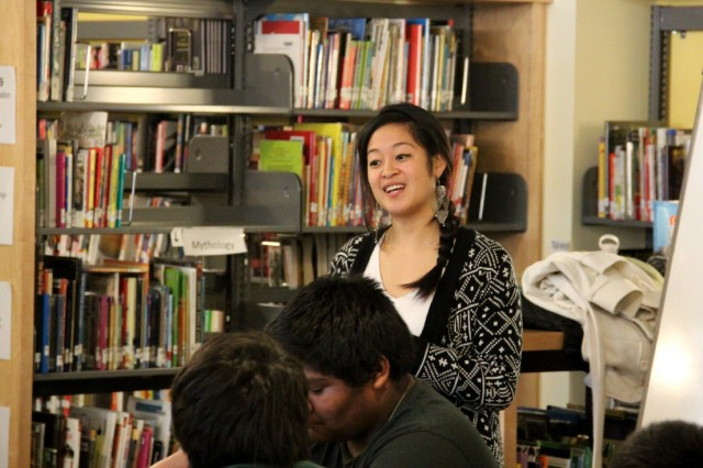 Teacher Kirstie Mah leading class discussion on dating violence at Oakland's Lighthouse Charter School. (Aaron Mendelson/KQED)