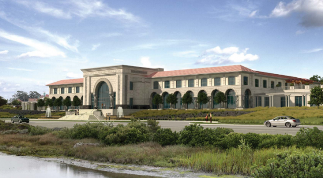 Artist's rendering of George Lucas' proposed art museum in San Francisco's Presidio. (Lucas Cultural Arts Museum presentation, January 2014)