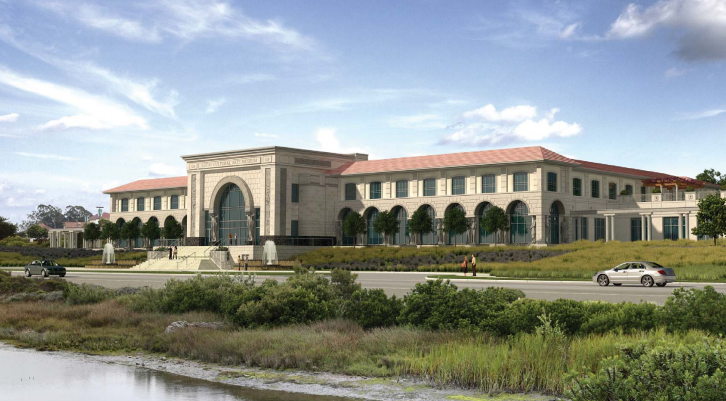 Artist's rendering of proposed Lucas Cultural Arts Museum in San Francisco's Presidio. The body governing the former Army base has rejected the museum and two other proposals. (Lucas Cultural Art Museum presentation, January 2014)