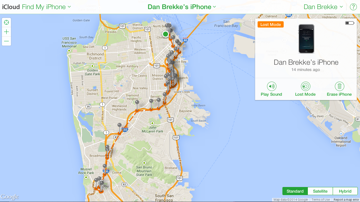 a find my iphone map of the travels of dans brekkes cellphone after he