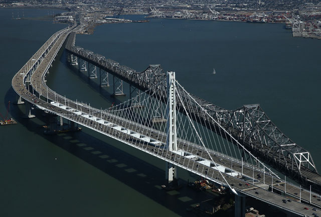 The new eastern span of the  Bay Bridge shortly before it opened last September. (Justin Sullivan/Getty Images)