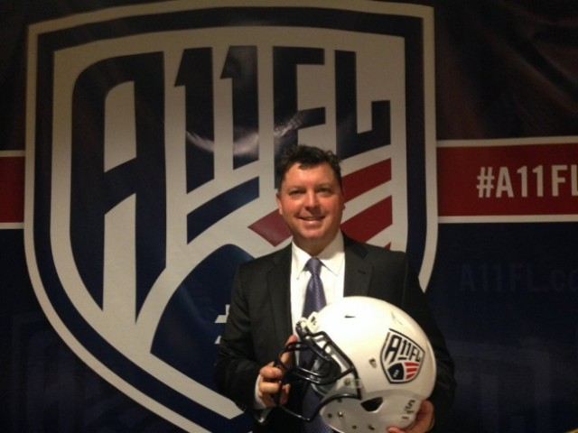 Steve Humphries, co-founder of the A11FL, at the official announcement in San Francisco of the 2015 inaugural season. (Isabel Angell/KQED)