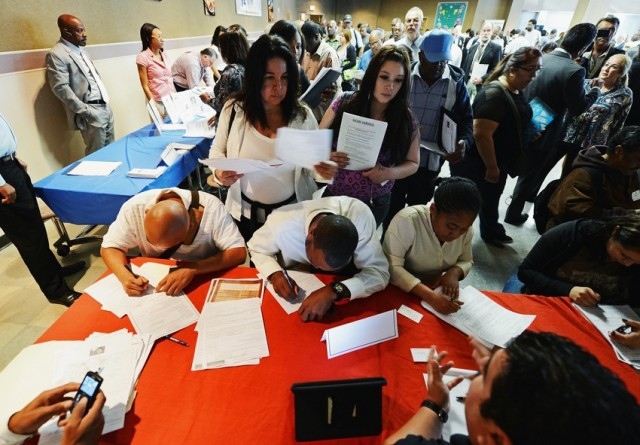 Job seekers at an employment fair. (Kevork Djansezian/Getty Images)