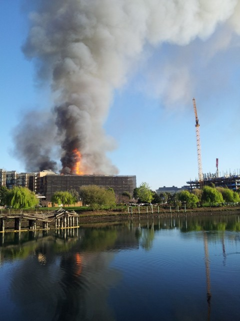 Fourth and China Basin fire. (Mark Andrew Boyer/KQED)
