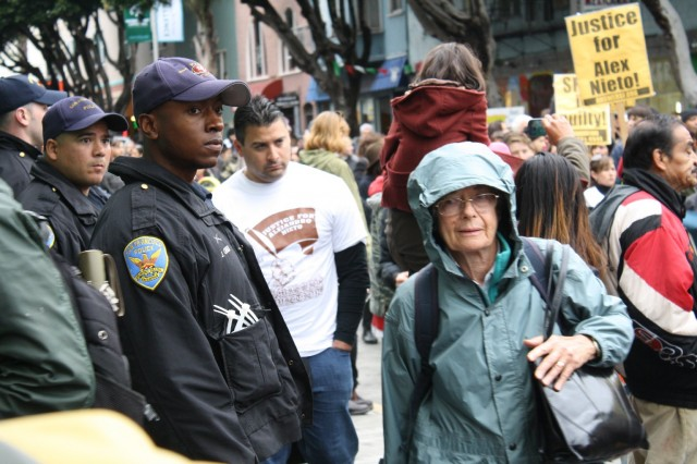 Several dozen San Francisco police officers followed Saturday's march.
