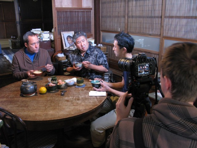 Hawaii chefs Ed Kenney, left, and Alan Wong visit with organic Tadaaki Hachisu in Japan. (Photo by Dan Nakasone)