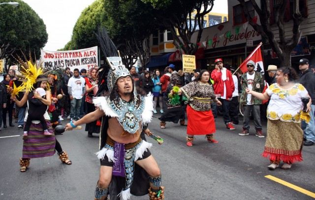Mexica dancers Saturday's march for 28-year-old Alejandro Nieto, who was shot and killed by police officers a week before.