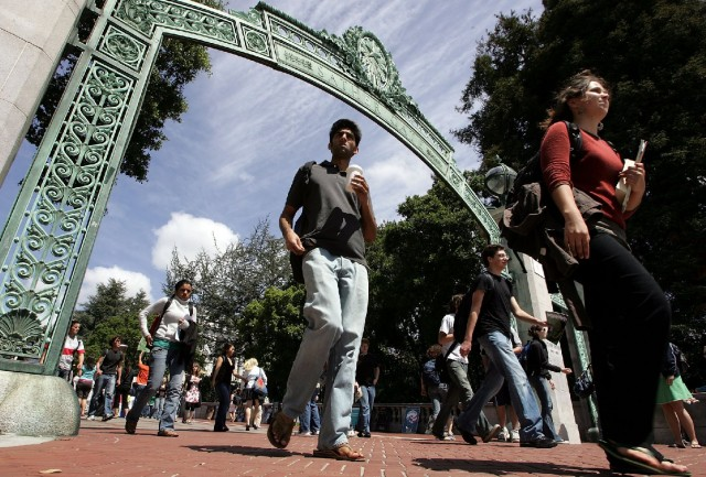 Students at UC Berkeley's Sather Gate. (Justin Sullivan/Getty Images)